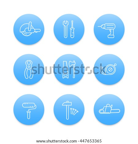 construction tools line icons, wrench, chainsaw, drill, saw, hammer, vector illustration