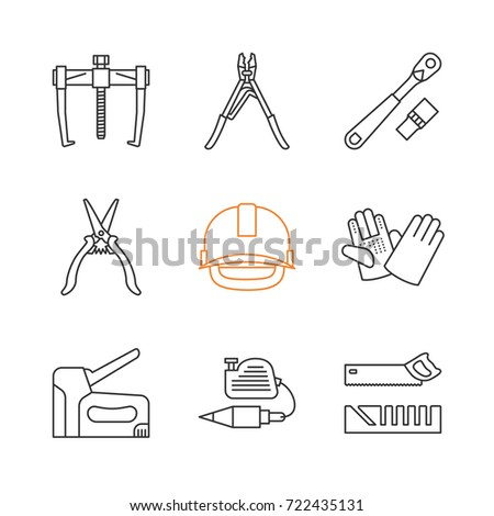 Construction Tools Linear Icons Set Bearing Puller Crimping Tool Ratchet Industrial Safety