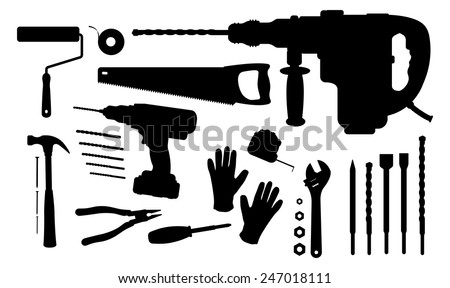 Construction tools silhouettes set: paint roller, insulating tape, hand saw, puncher, drill and bits, hammer, nails, pliers, screwdriver, measuring tape, wrench tools, working gloves - stock vector