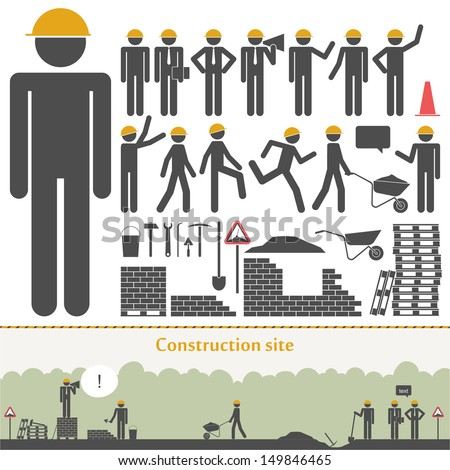 Construction vector set (builders & tools) - stock vector