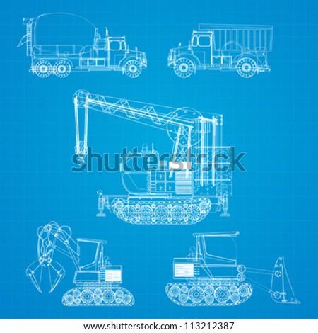 Construction vehicles blueprint stylized design elements stock construction vehicles blueprint stylized design elements malvernweather Images