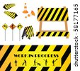 Construction warning signs, design elements - stock photo