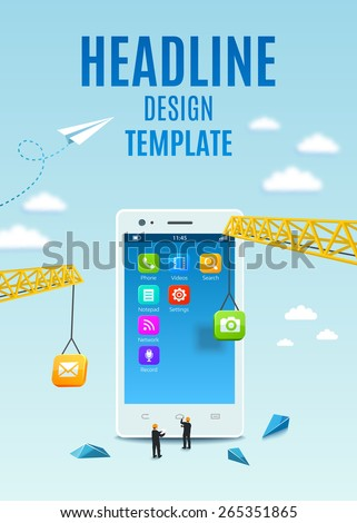 Construction white smartphone, software and mobile application development. Vector template design, flyer, brochure, cover book, page.  - stock vector