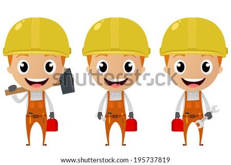 construction worker cartoon character - stock vector