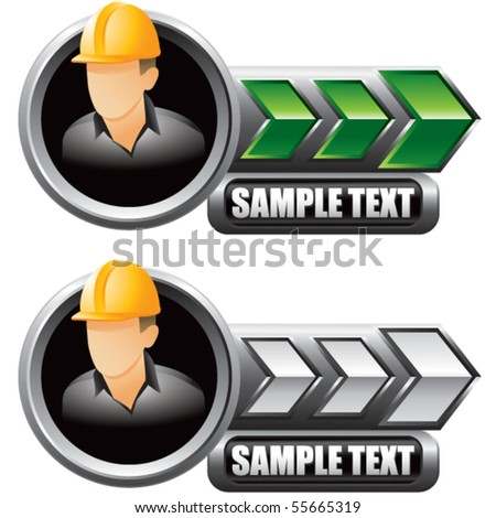 construction worker green and white arrow nameplates - stock vector