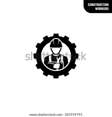 Construction worker holding wrench  - stock vector