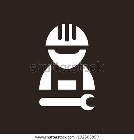 Construction worker icon on dark background - stock vector