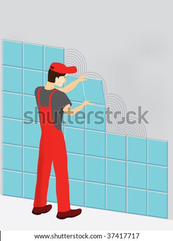 Construction worker in red suit laying tiles - stock vector