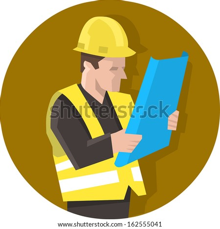 Construction worker in safety vest reading blueprint plan. Isolated vector illustration - stock vector