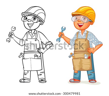 Construction worker in uniform standing with a wrench in his hands. Funny cartoon character. Vector illustration. Isolated on white background. Coloring book. Color and black and white image - stock vector