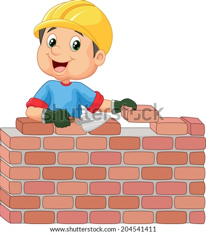 Construction worker laying bricks - stock vector