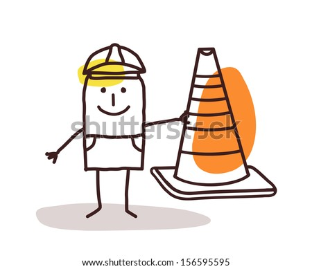 Construction Worker Man With a Cone Sign - stock vector