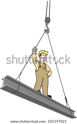 construction worker on a steal beam being lifted by a crane - stock vector