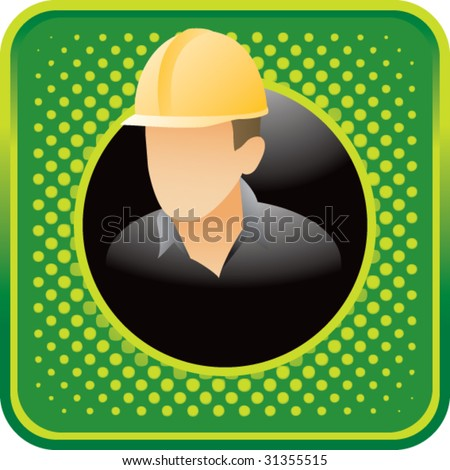 construction worker on green halftone web button - stock vector