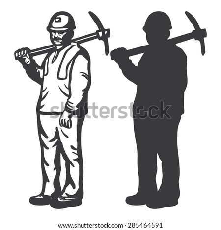 CONSTRUCTION WORKER OUTLINE AND SILHOUETTE illustration vector - stock vector