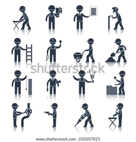 Construction worker people silhouettes icons black set isolated vector illustration