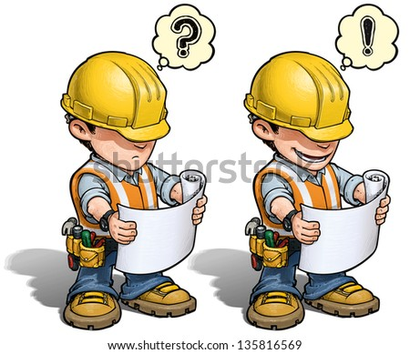 Construction Worker - Reading Plan - stock vector