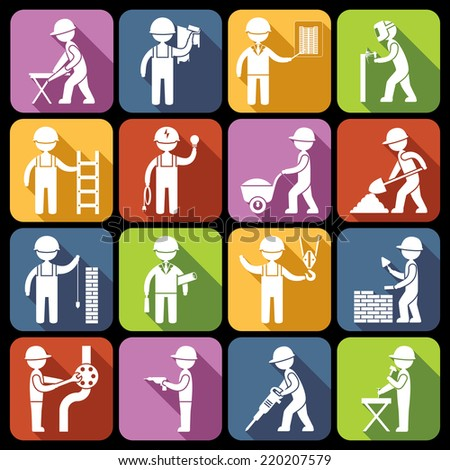 Construction worker repairman mechanic silhouettes icons white set isolated vector illustration - stock vector