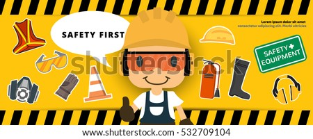 Construction Worker Repairman Thumb Banner Safety Stock ...