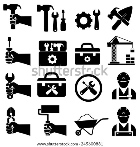 Construction worker set icons.vector - stock vector