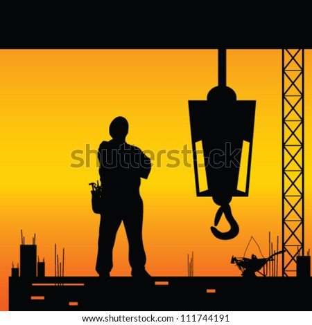 construction worker silhouette on the work place - stock vector
