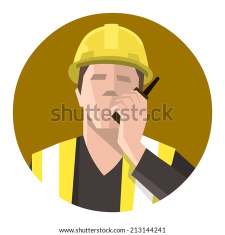 Construction worker talking on the radio - stock vector