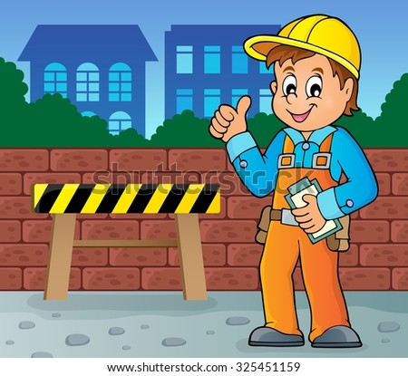 Construction worker theme image 4 - eps10 vector illustration. - stock vector
