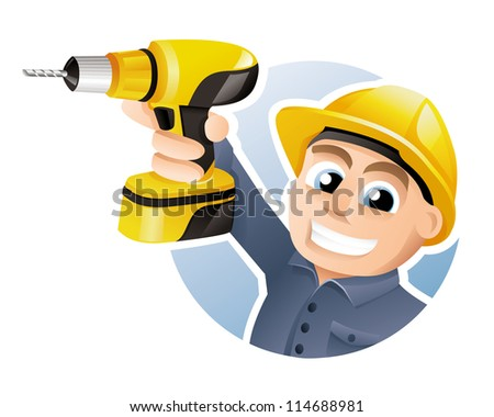Construction worker wearing hard hat and carrying a drill - stock vector