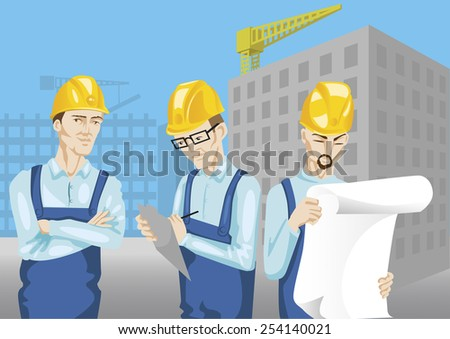 construction workers and engineers at construction site