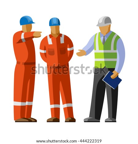 Construction workers group discussion with manager. Vector isolated illustration