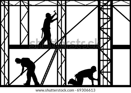construction workers isolated on white - stock vector