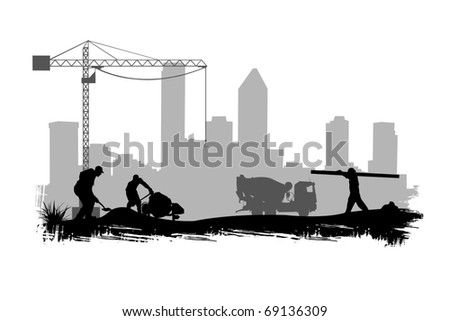 construction workers on site illustration - stock vector