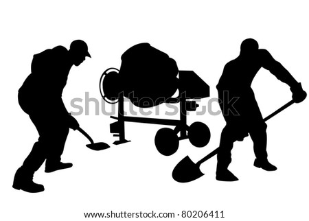 construction workers silhouette isolated on white - stock vector