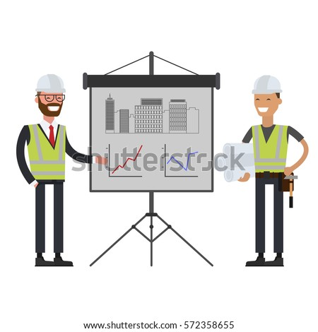 Construction workers team and Engineer in hard hats. Vector illustration flat
