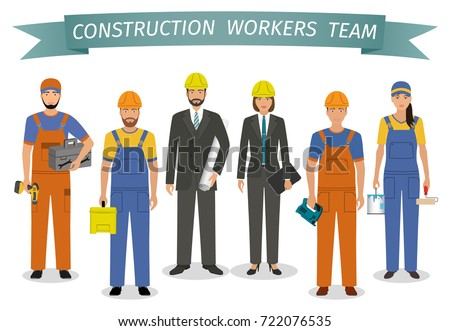 Construction workers team. Employment and labor day banner. Group of industrial people characters standing together. Vector illustration.