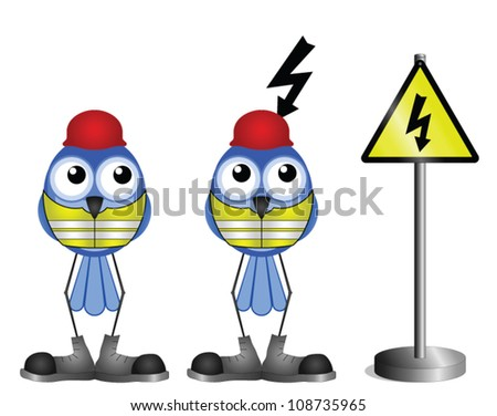 Construction workers with electric shock warning sign isolated on white background - stock vector