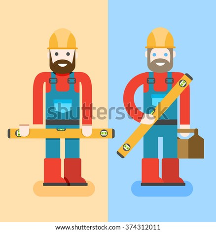 Construction workers with repair tools. Building specialists vector illustration. Cartoon repairmen with smile. Good builders in uniform. Service man. - stock vector