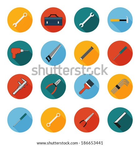 Construction working tools icons set - stock vector