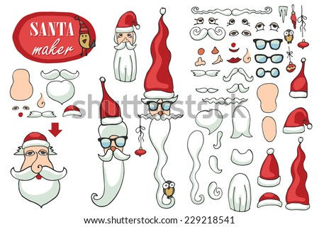 Constructor or Santa Claus face. Faces,hats,mustache,beard,glasses to create a face of Santa Claus. Easy to make your Santa.Humor Hipster Christmas,new year.Vector set - stock vector