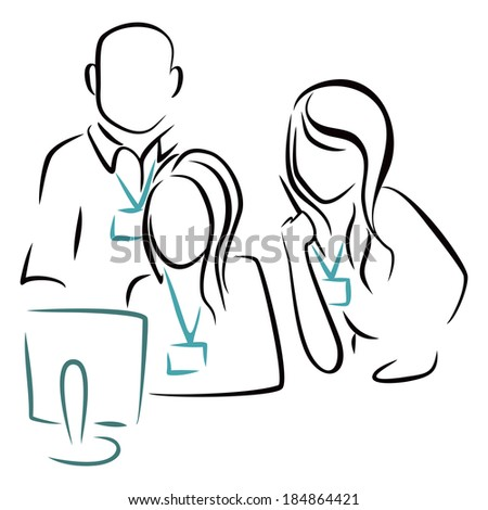 Consultation at computer - stock vector