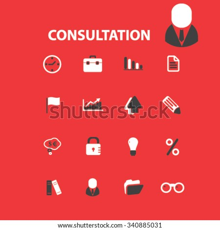 consultation icons - stock vector