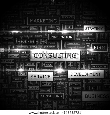 CONSULTING. Background concept wordcloud illustration. Print concept word cloud. Graphic collage with related tags and terms. Vector illustration.