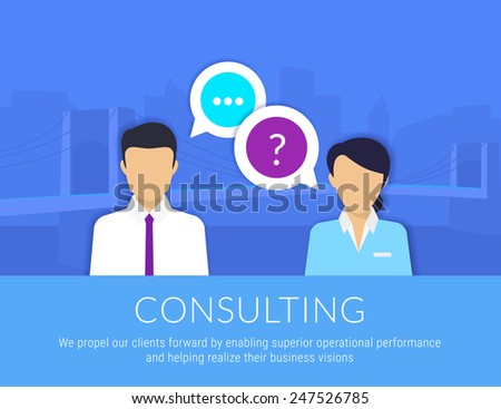 Consulting business. Businessman and female consultant with speech bubbles. Text is outlined. Free fonts Lato and Roboto Condensed - stock vector