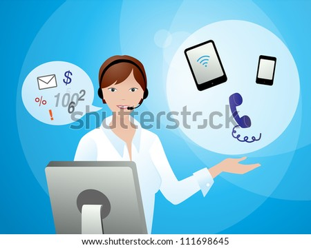Consulting by phone - stock vector
