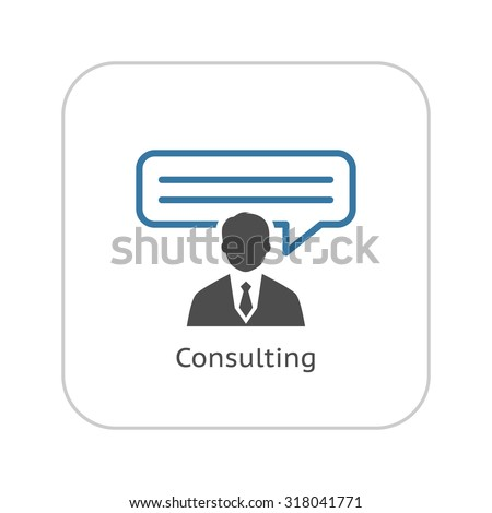 Consulting Icon. Business Concept. Flat Design. Isolated Illustration. - stock vector