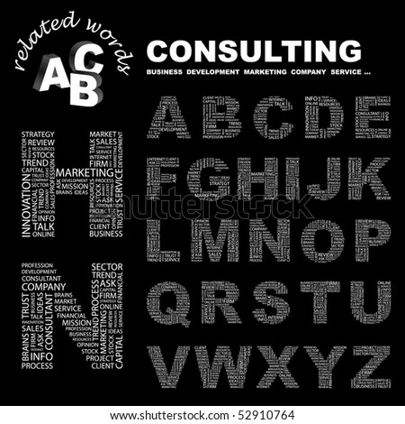 CONSULTING. Vector letter collection. Wordcloud illustration.