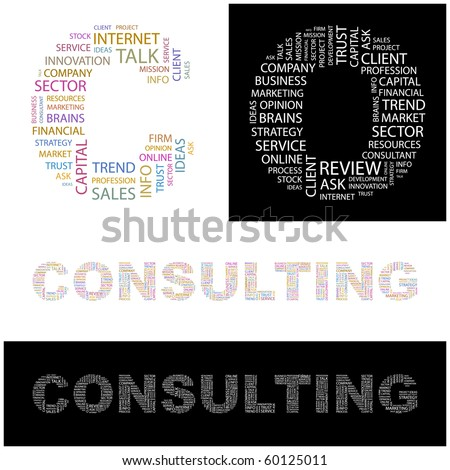CONSULTING. Word collage.  Illustration with different association terms. - stock vector
