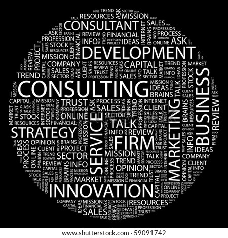CONSULTING. Word collage on black background. Illustration with different association terms. - stock vector