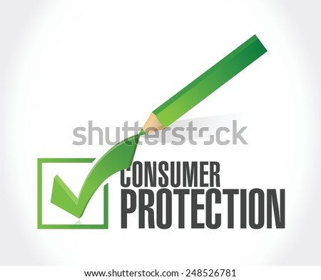 consumer protection checkmark illustration design over a white background - stock vector