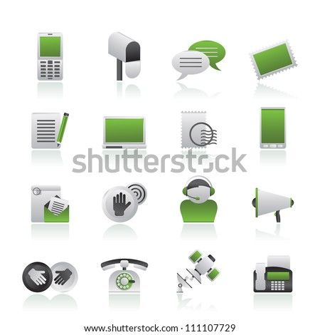 Contact and communication icons - vector icon set - stock vector